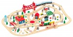 Leomark Deluxe Wooden Train Set 130pcs Railway track